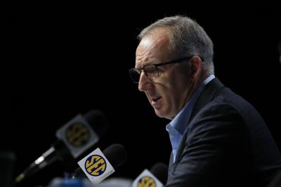 In this file photo, Greg Sankey, Commissioner of the SEC, addresses the media following the announcement of the cancellation of the SEC Basketball Tournament at Bridgestone Arena on March 12, 2020, in Nashville, Tennessee.