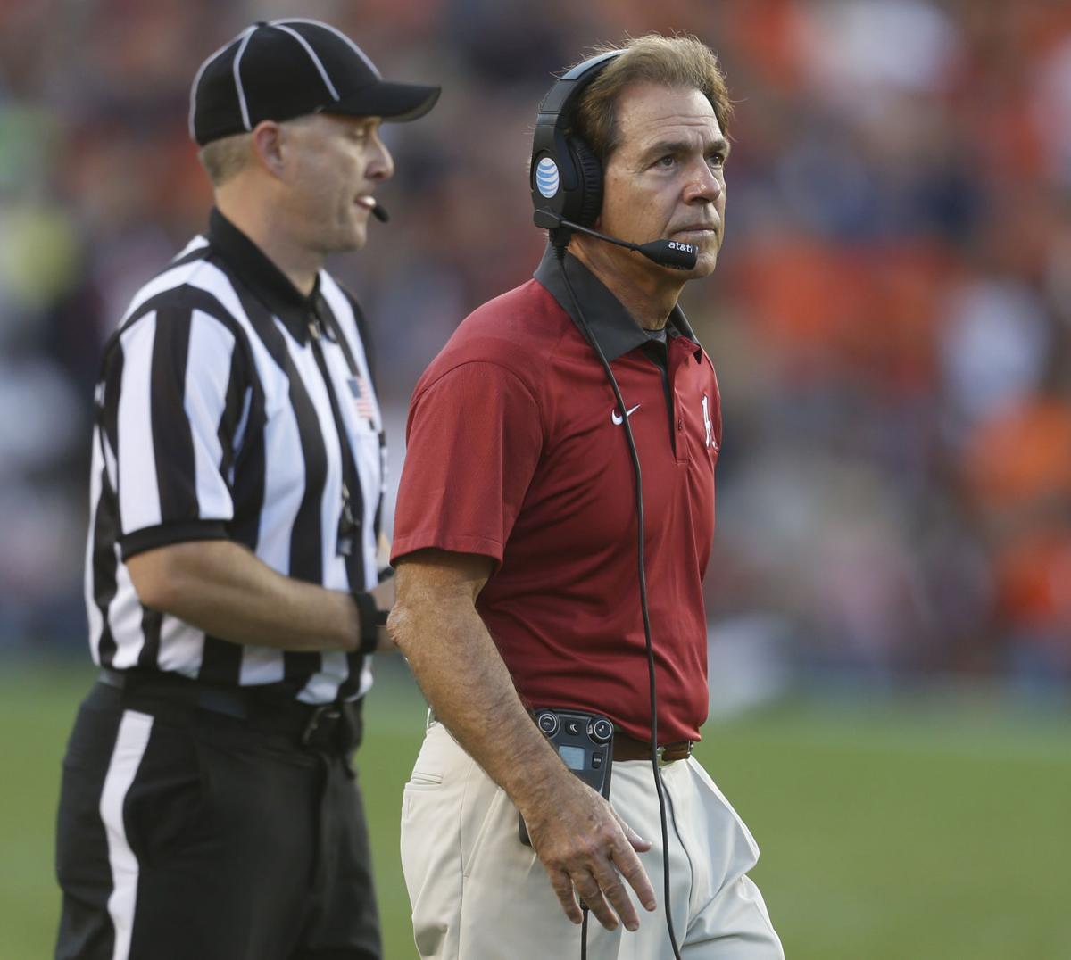 Alabama Crimson Tide coach Nick Saban wants to see improved play ...