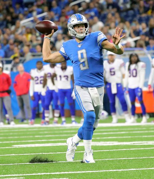Detroit Lions quarterback Matthew Stafford looks to pass against the Buffalo Bills on August 23, 2019, at Ford Field in Detroit.