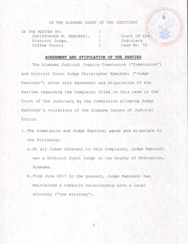 Kaminski: Settlement agreement