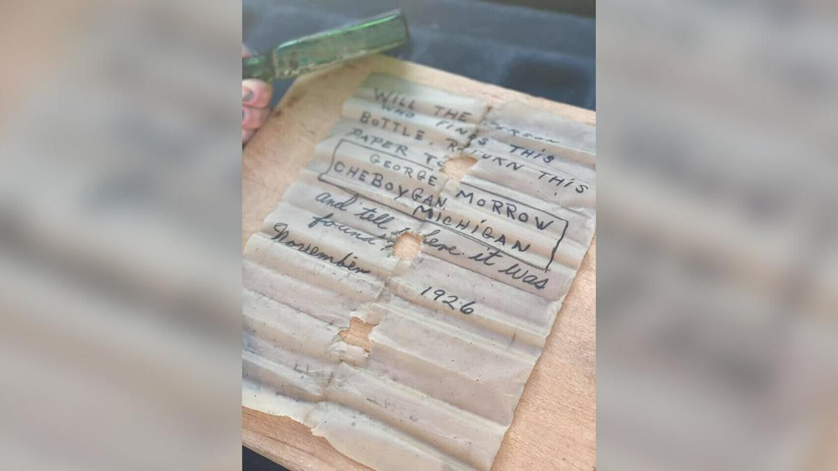 A boat captain found a 95-year-old message in a bottle in Michigan. The internet helped track down the writer's daughter