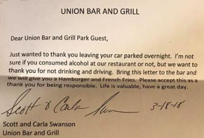 Union Bar and Grill letter