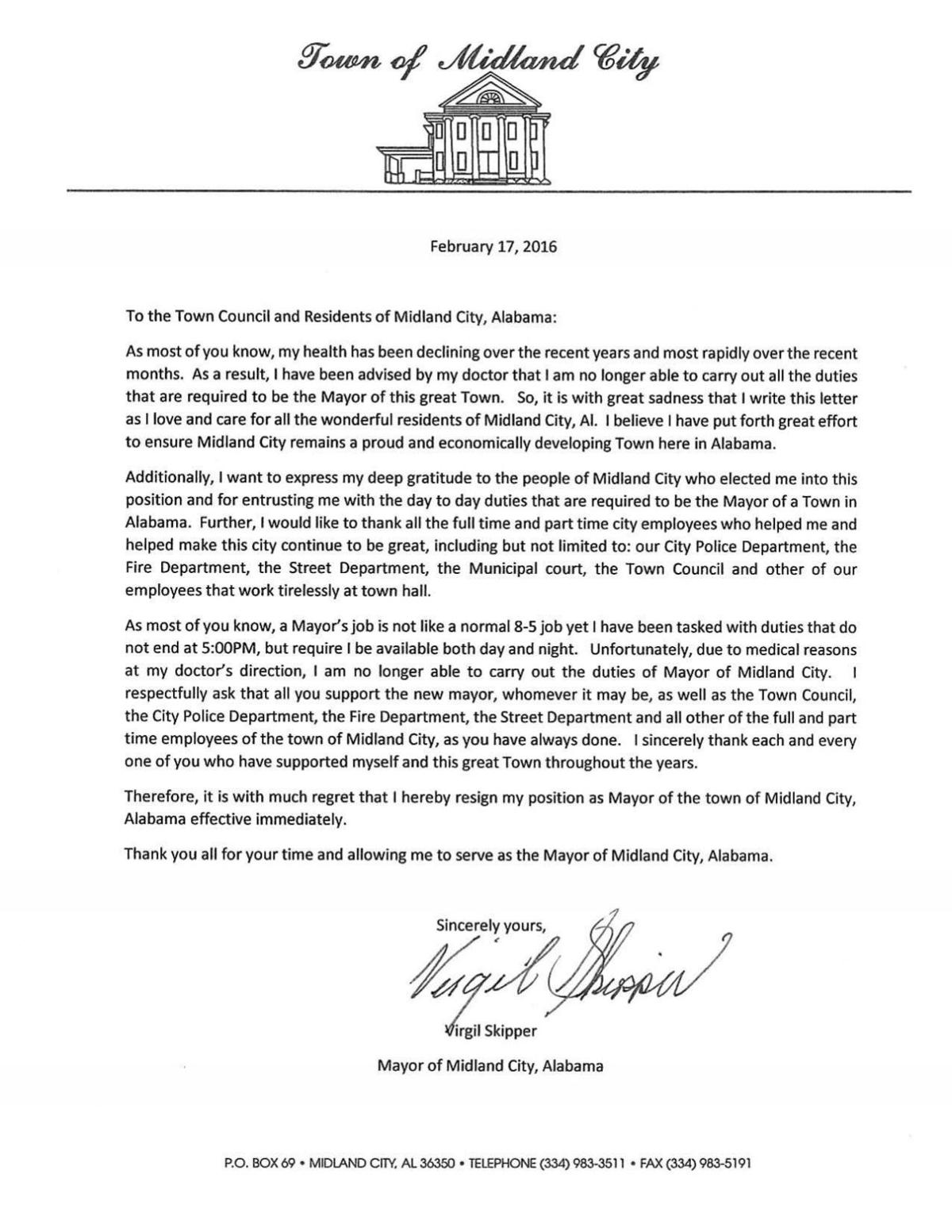 Mayor Virgil Skippers Resignation Letter Government Dothaneagle