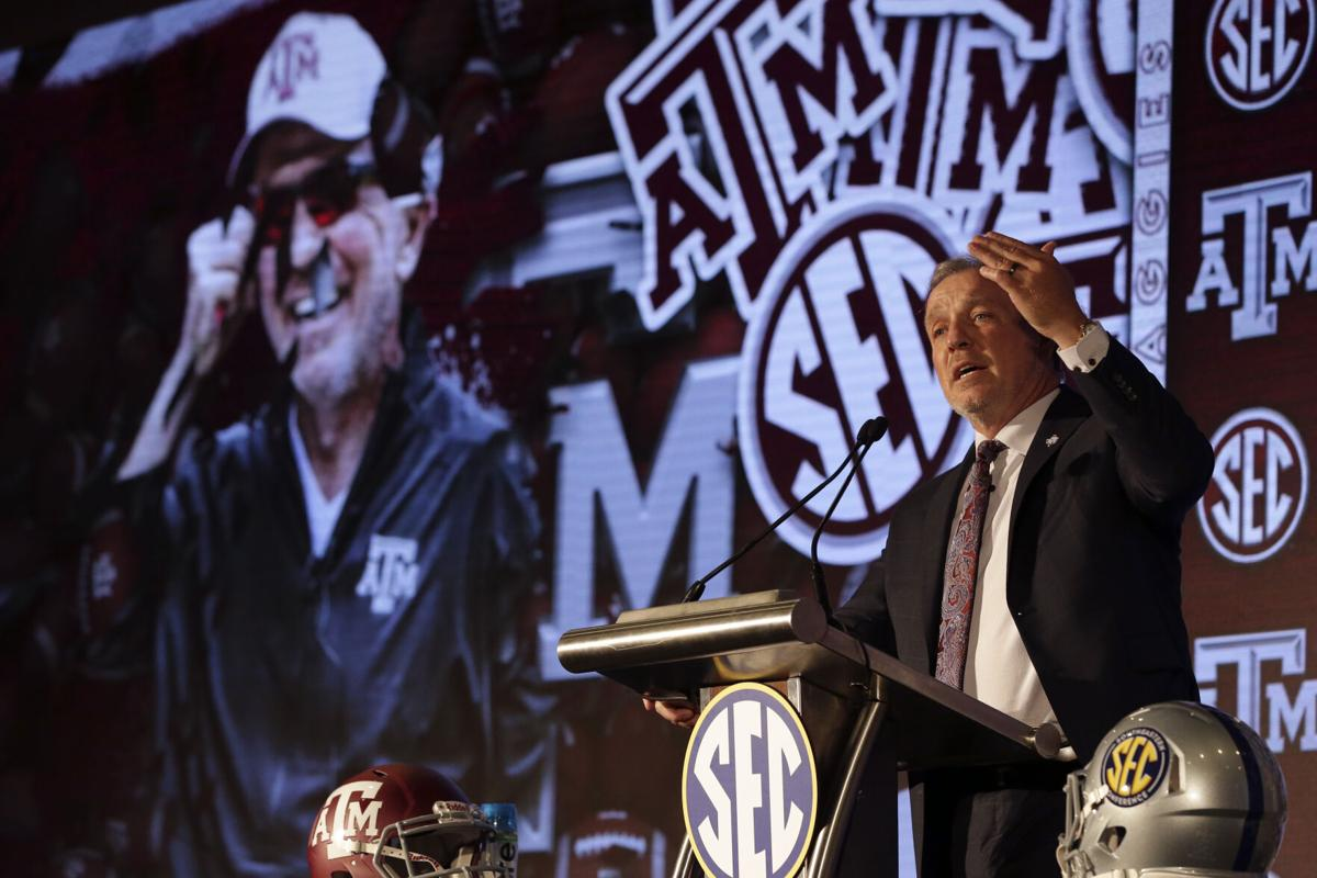 SEC Media Days PHOTO OF TEXAS A&M coach FOR JUMP OF SABAN STORY