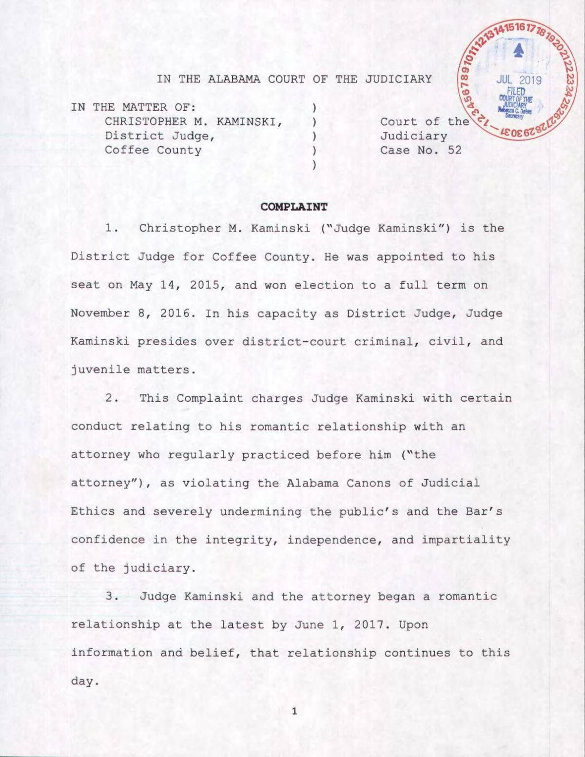 Complaint against Judge Chris Kaminski