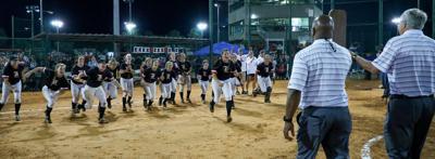 G.W. Long softball rush
