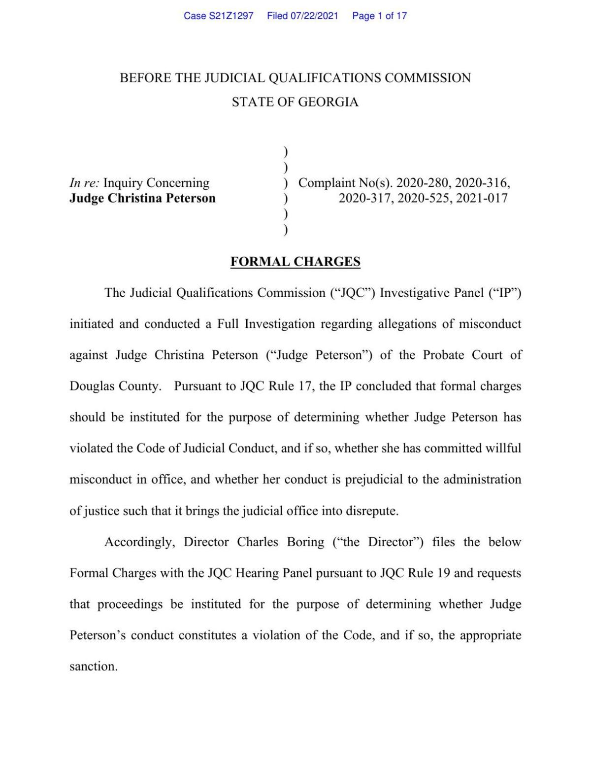 JQC Formal Charges — Judge Christina Peterson
