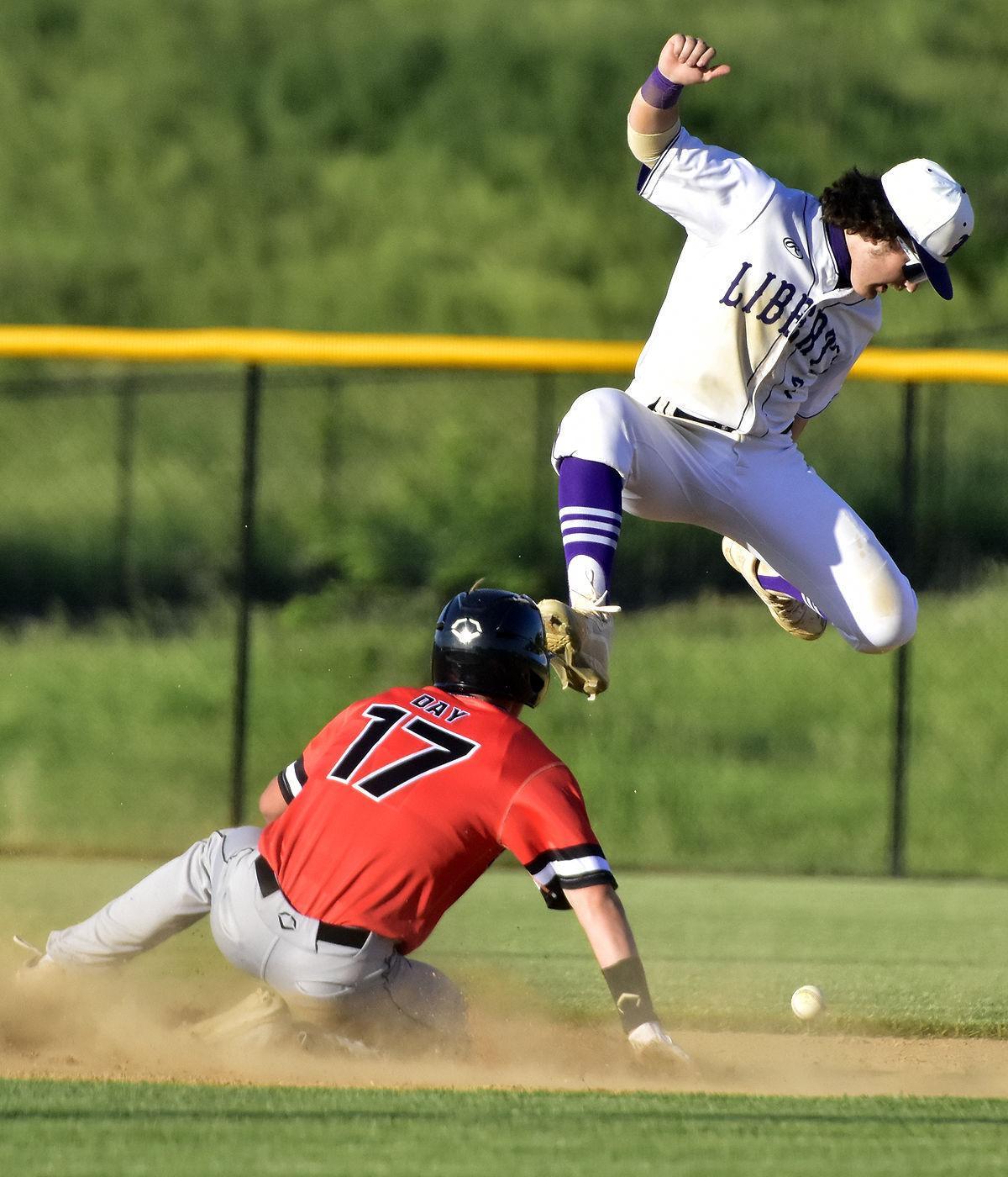 Hayden Vickroy leaps over Prairie's Noah Day