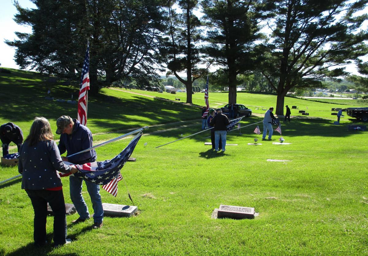 Groups raising flags
