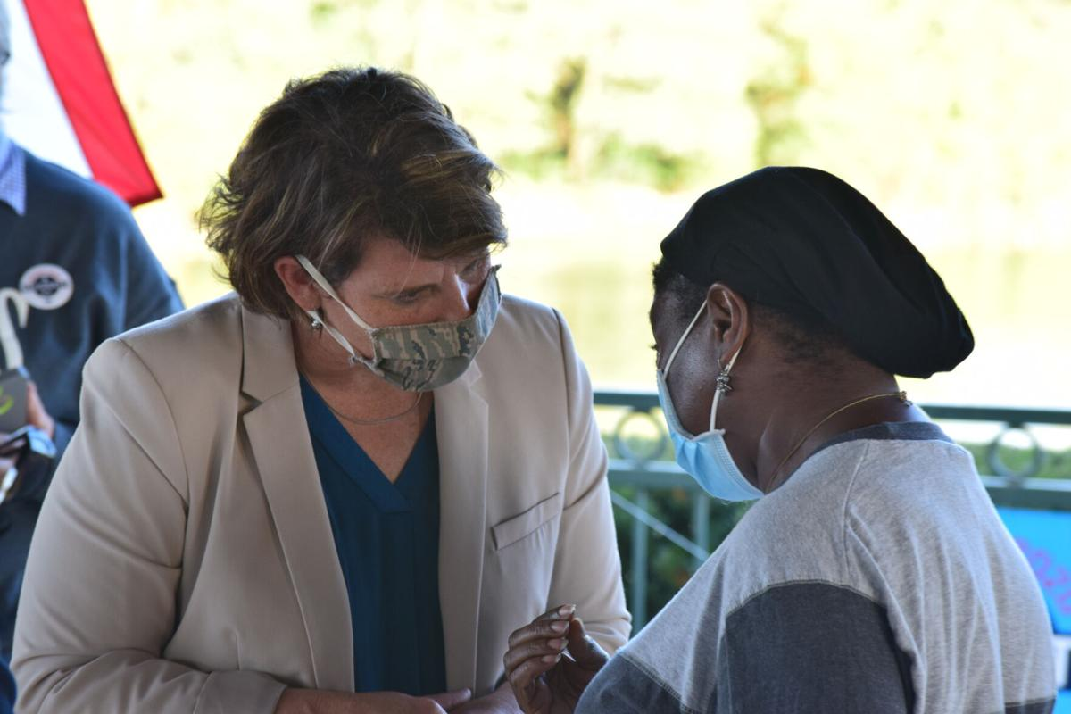 PHOTO: U.S. Senate candidate Amy McGrath campaigns at Lake Reba