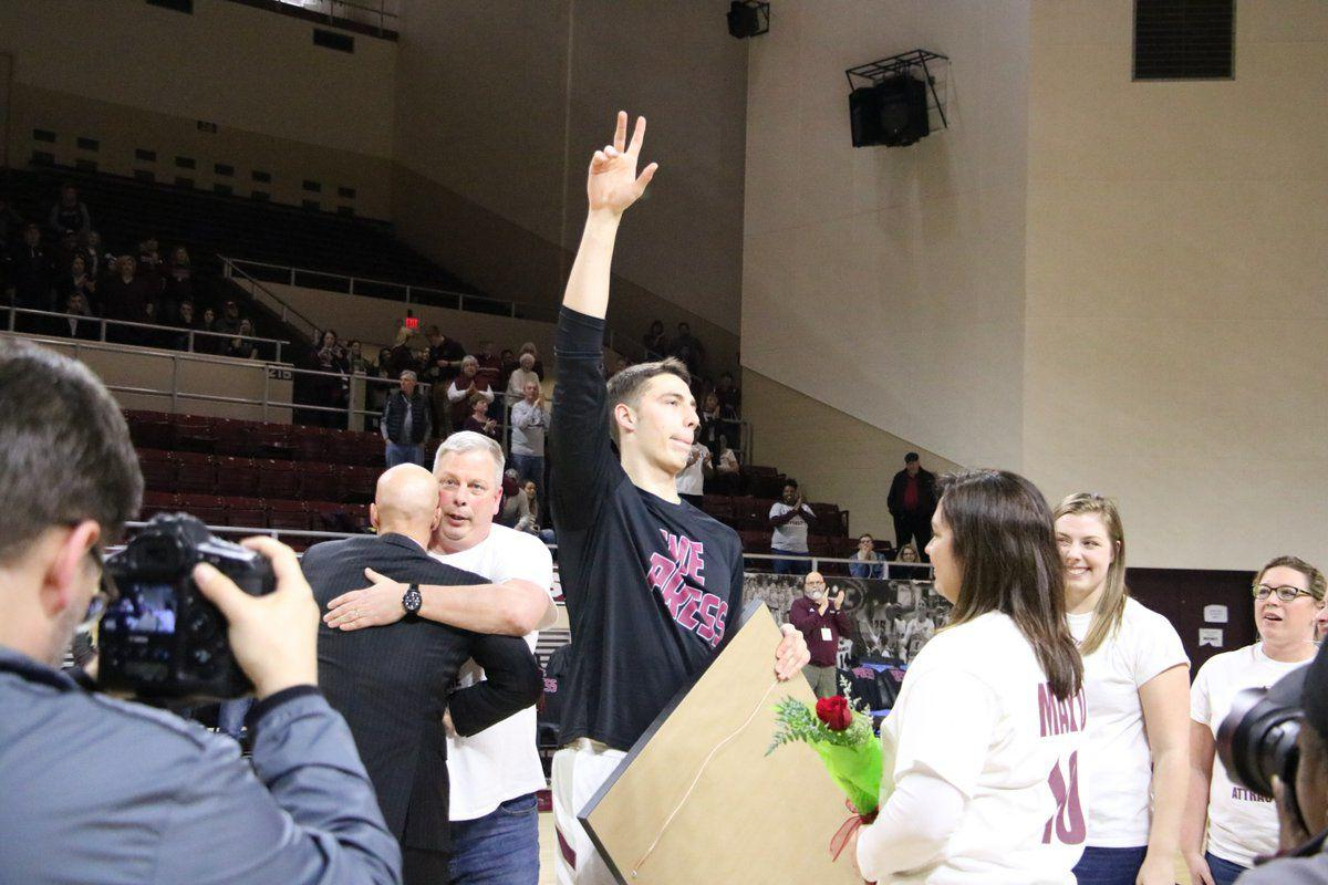 Nick Mayo during senior day ceremony