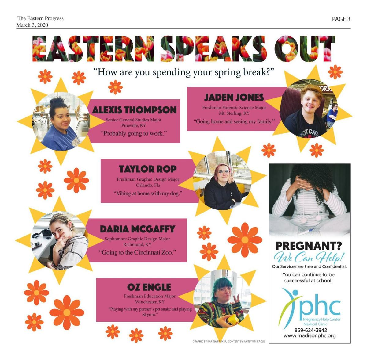 Eastern Speaks Out: What are you doing for spring break?