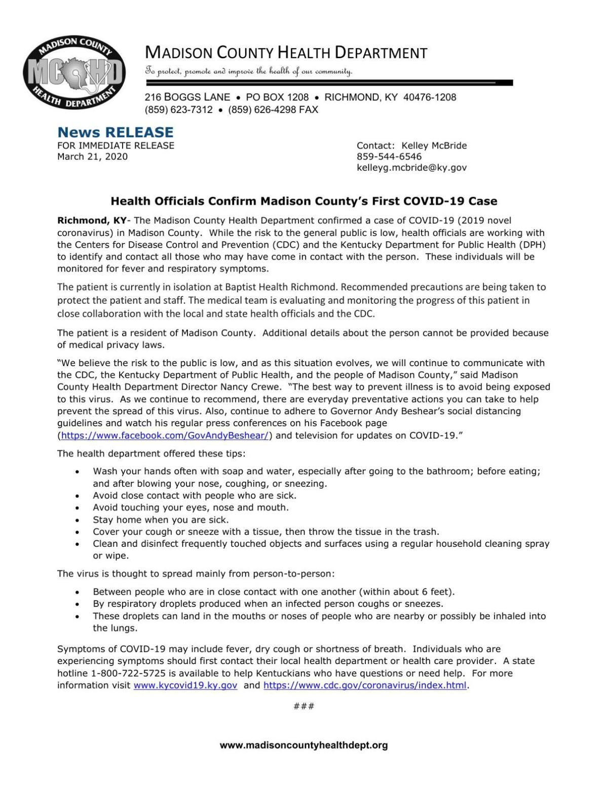 Madison County Health Department Press Release