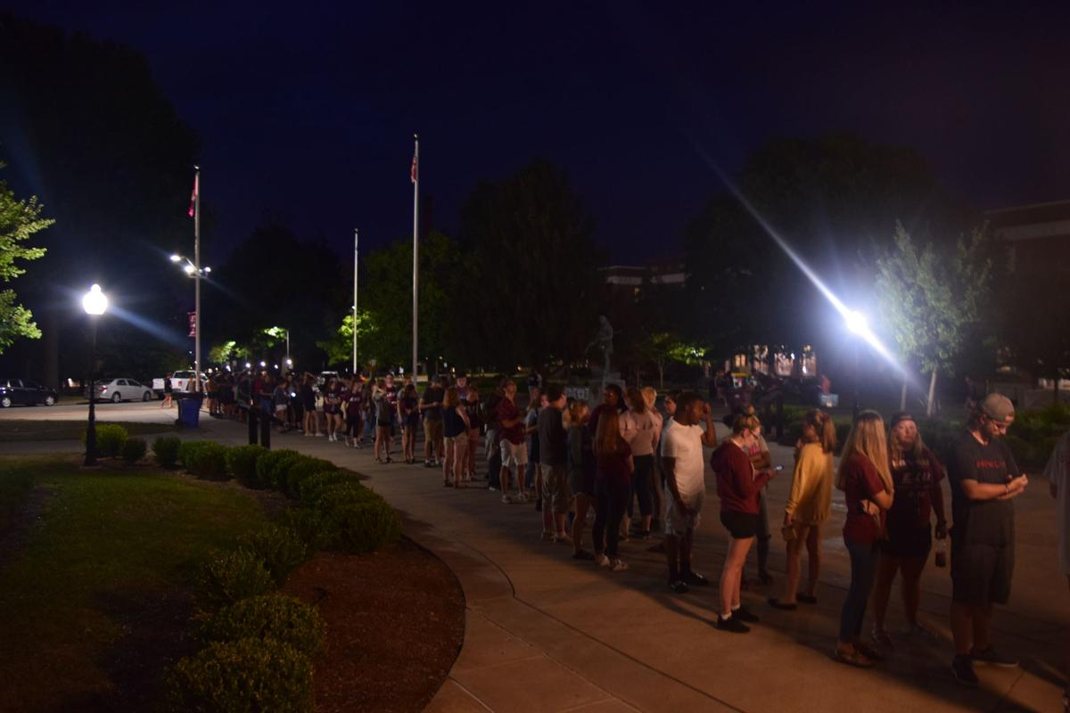 Long Line Outside Keen Johnson