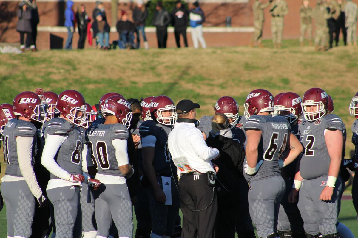 EKU football huddle during the Robert Morris game
