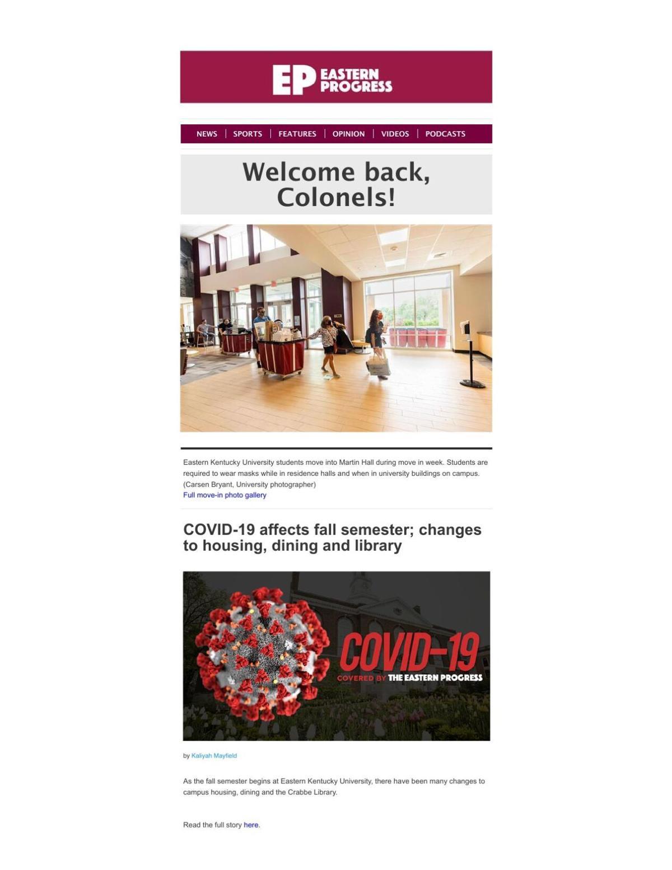 Eastern Progress Back to School Newsletter