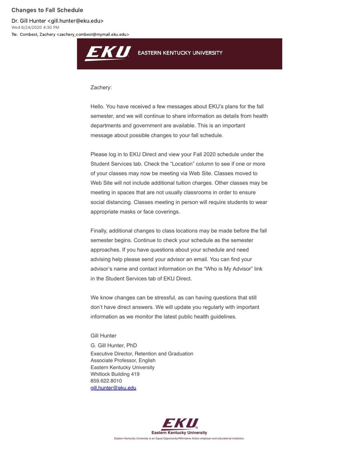 EKU moves some classes online for fall semester