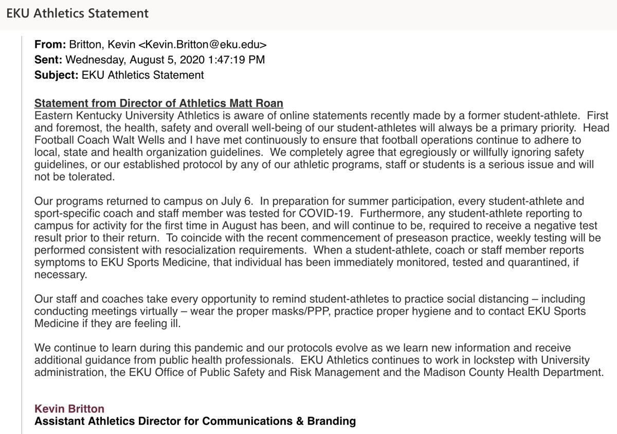 UPDATE: EKU football kicker Landon White claims player safety at risk; EKU Athletics makes statement