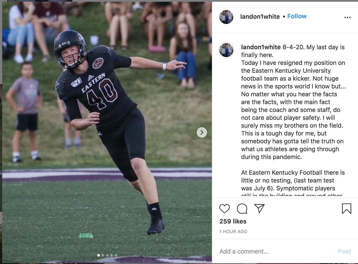EKU football kicker Landon White claims player safety at risk
