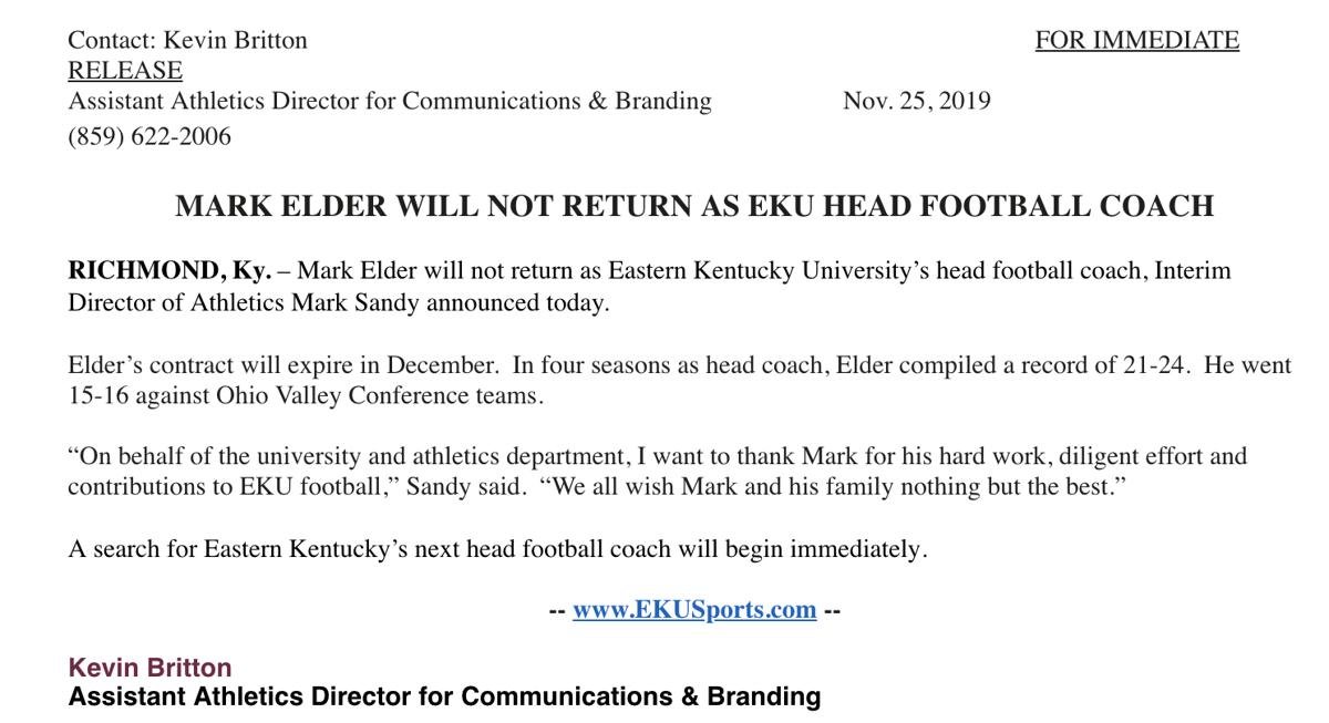 BREAKING: Mark Elder will not return as EKU football head coach