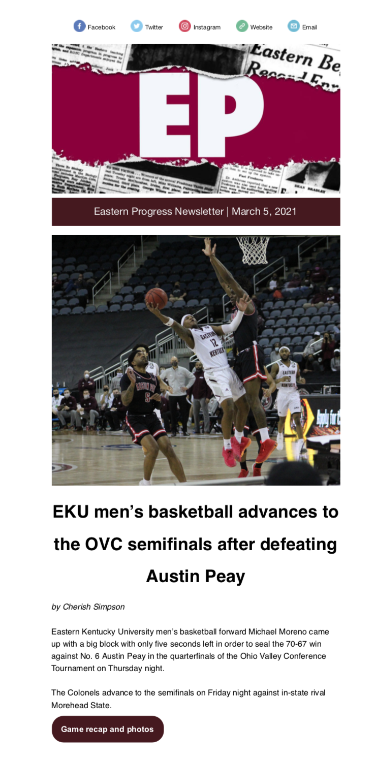 March 5 Eastern Progress newsletter front page