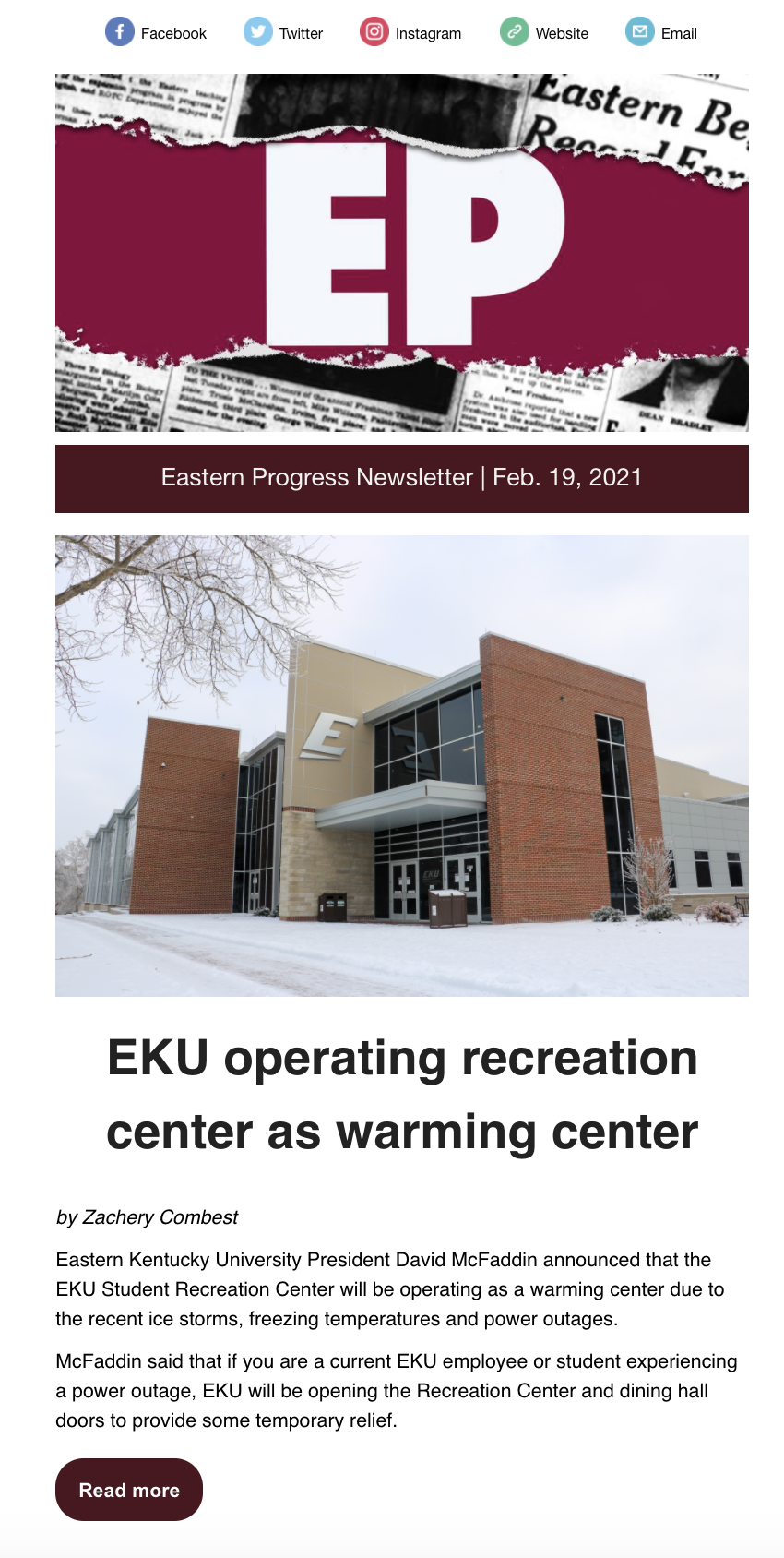 Feb. 19 Eastern Progress newsletter front page