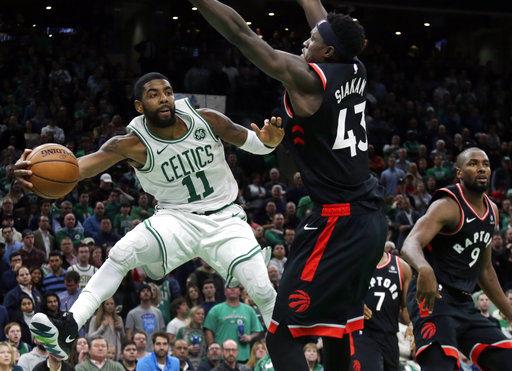 Kyrie Irving scores 43, Celtics beat Raptors 123-116 in OT