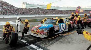 Busch drives from the back to win on home track