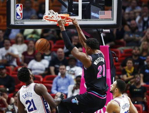 Embiid scores 35, 76ers top reeling Heat 124-114
