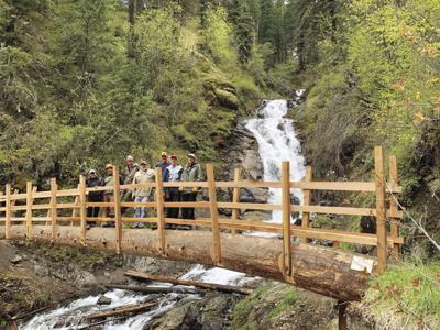 Wallowa-Whitman National Forest, Wallowa Mountains Hells Canyon Trail Association build bridge on trail near Wallowa Lake