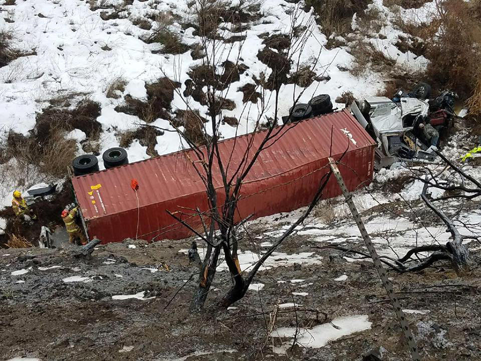 Semi truck crashes into canal northeast of Hermiston