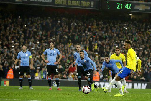 Neymar scores from spot as Brazil beats Uruguay 1-0