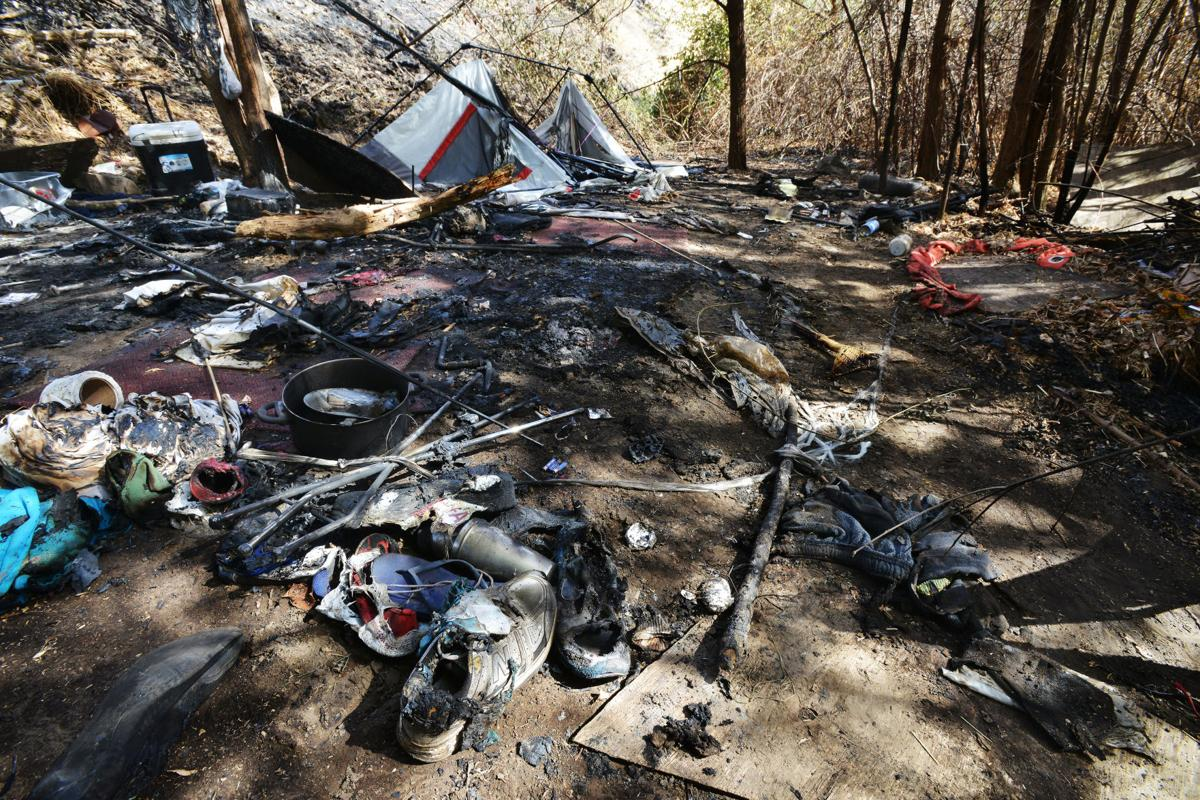 Fire from homeless camp threatens Pendleton homes