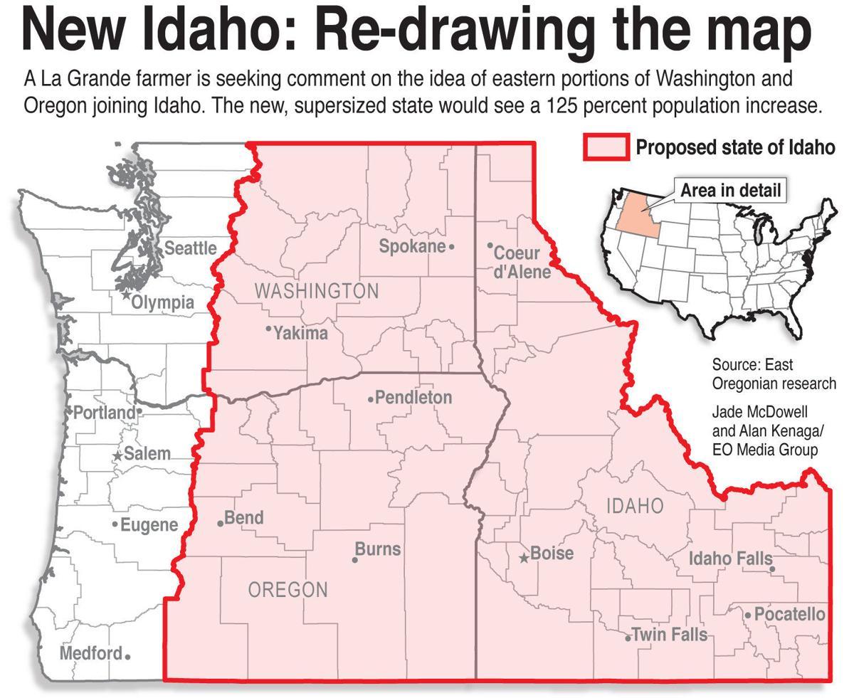 The state of New Idaho   Local News   eastoregonian.com on oregon road map, oregon great basin map, oregon capital city map, oregon trail through idaho, oregon st. louis map, oregon california map, oregon native american reservations map, oregon portland map, oregon nebraska map, oregon basalt gold, oregon state map, oregon colorado map, oregon canada map, oregon nez perce map, oregon albany map, oregon phoenix map, oregon salmon river map, oregon ohio map, oregon il map, oregon coast hiking trail map,