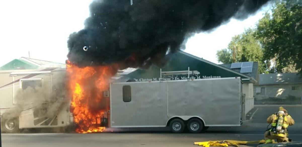 PENDLETON Motor home goes up in flames