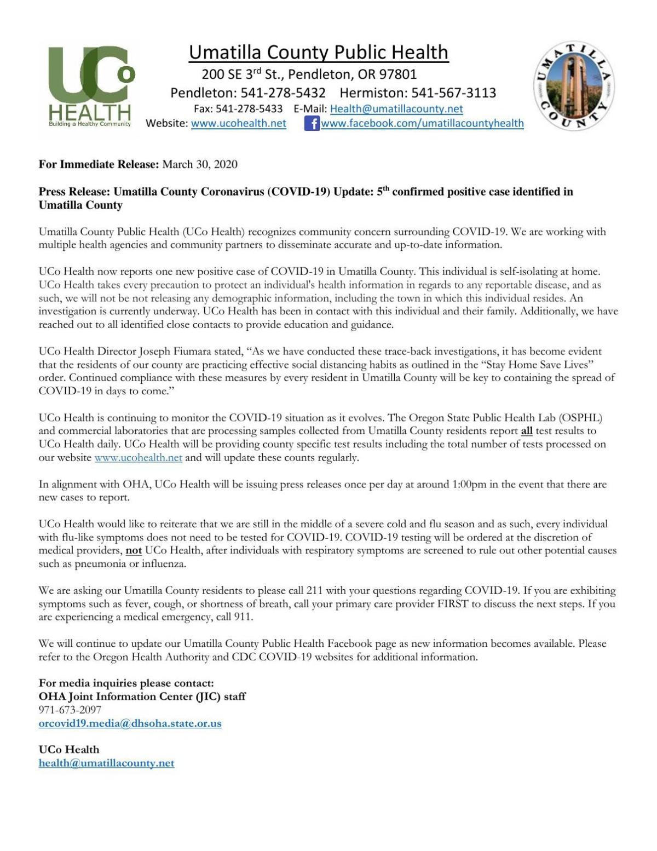 County announces fifth COVID-19 case