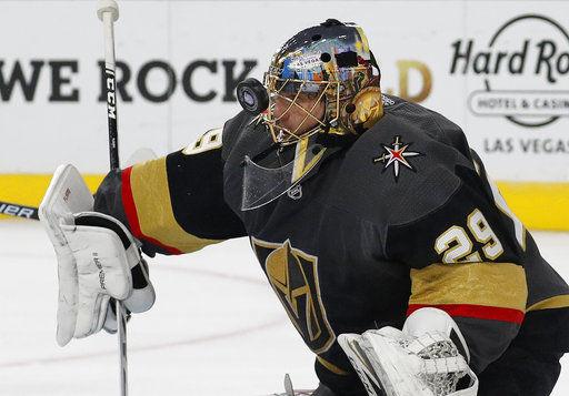 Fleury posts second straight shutout, Vegas beats Sharks 6-0