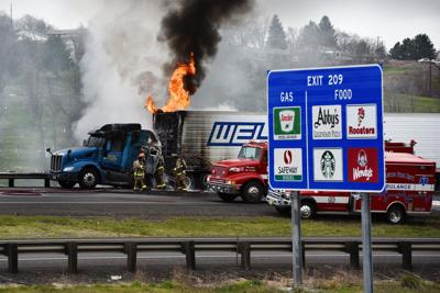 Semi catches fire on Interstate 84