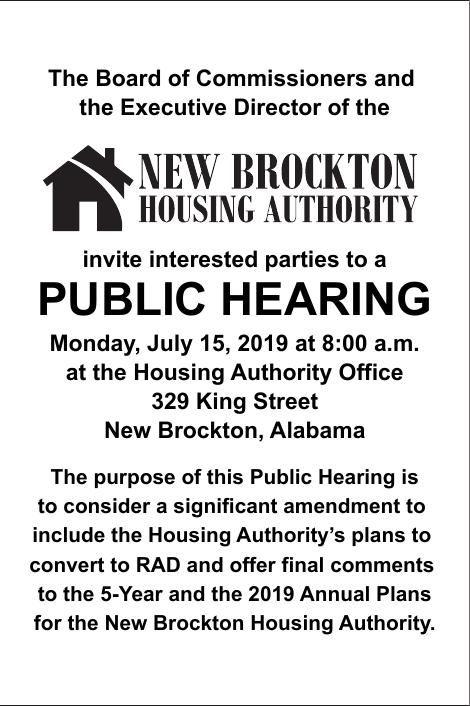 New Brockton Housing Authority   Legal Notices   elba