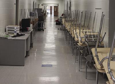 desks in hallway