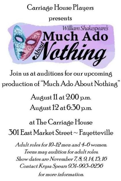 Auditions set for 'Much Ado About Nothing' | Local Entertainment