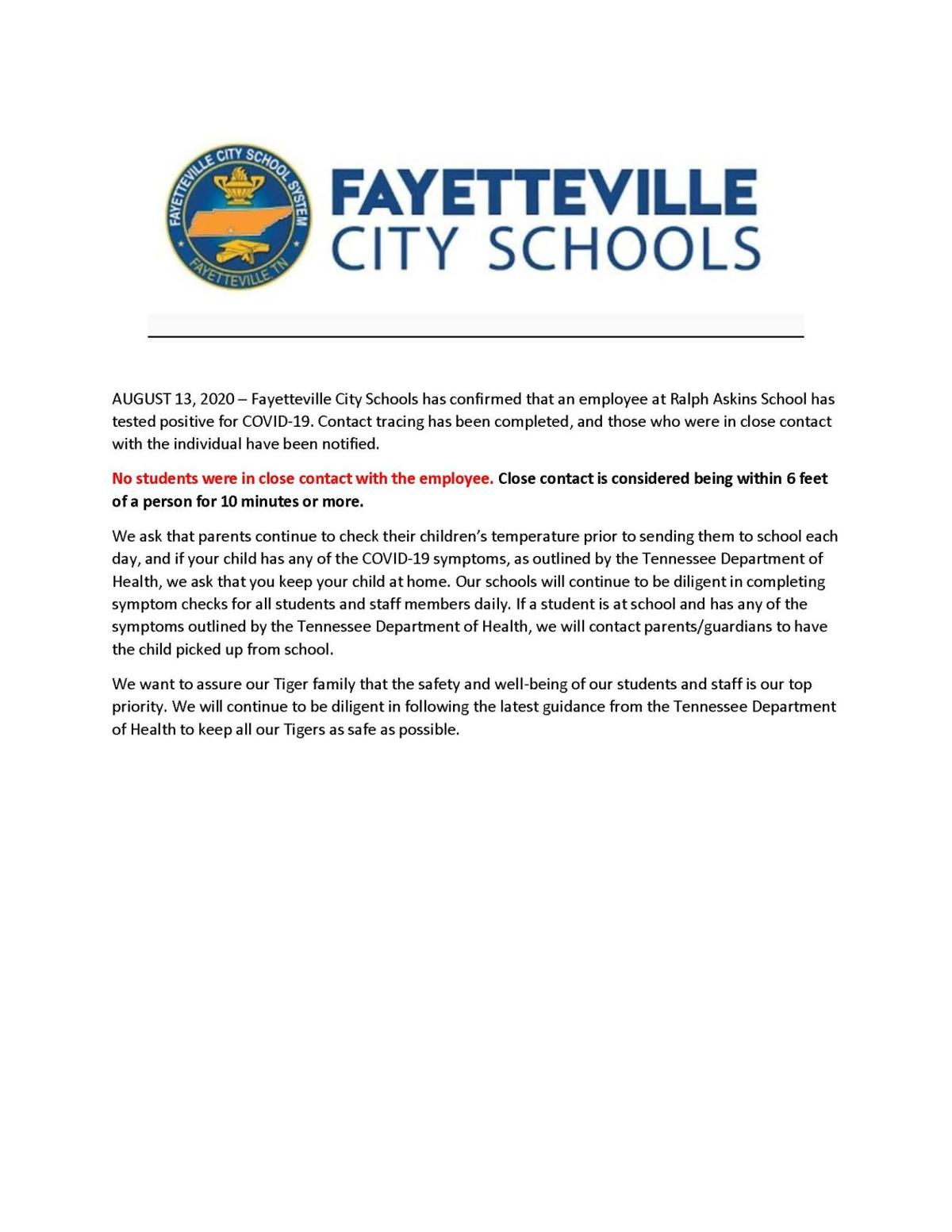 First confirmed positive COVID-19 case in Fayetteville City schools