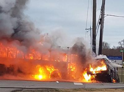 Fire erupts