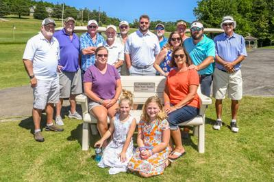 """Memorial bench in memory of Ricky """"Curly"""" Shockley"""