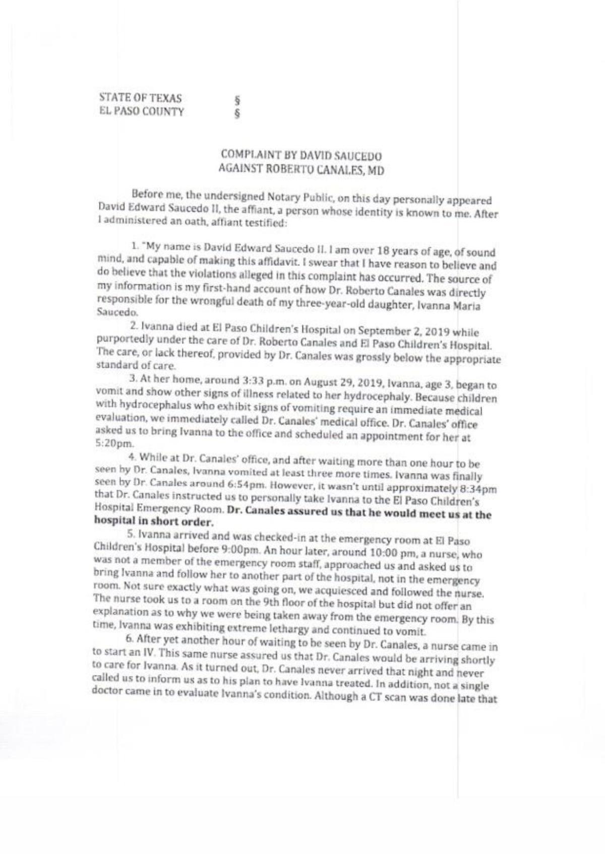 David Saucedo TMB complaint