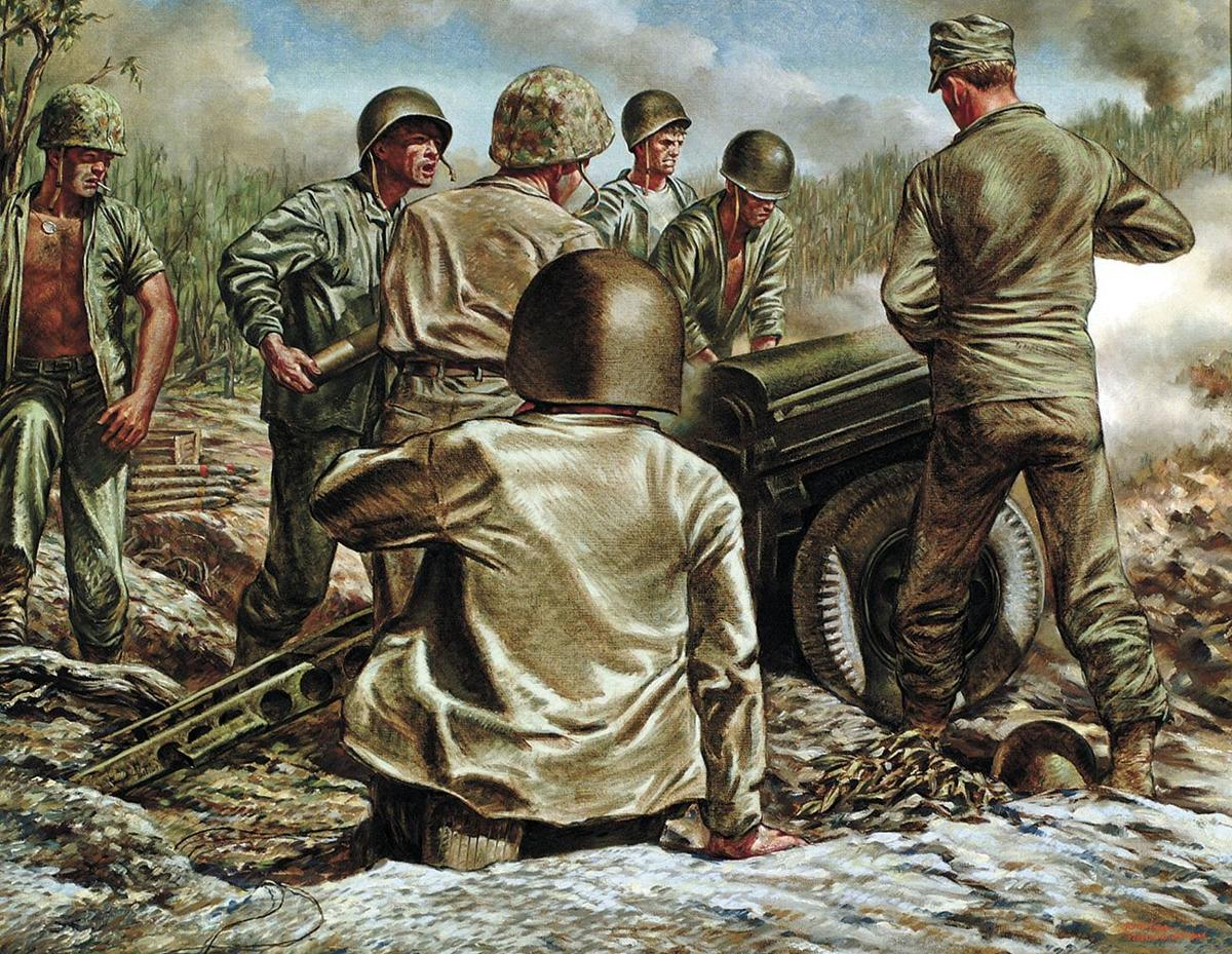 Artillery Support, 1944. Oil on canvas, 20¼ X 26. Life Collection of Art WWII, U.S. Army Center of Military History, Fort Belvoir, Virginia-2.tif