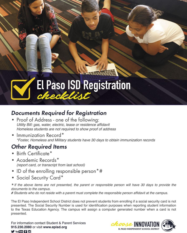 Episd Online Registration Is Open Special Sections Elpasoinc Com