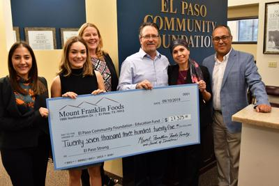 Mount Franklin Foods donated $27,325 to the El Paso Community Foundation Education Fund
