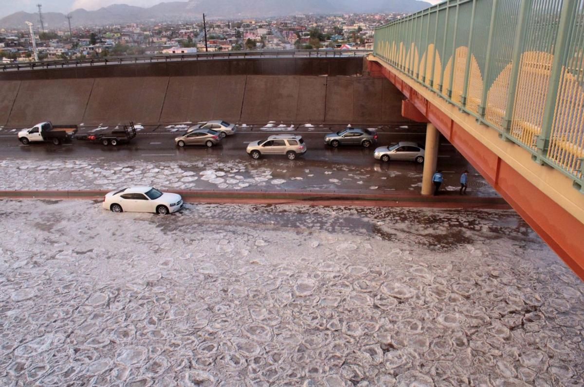 A hailstorm floods portions of Interstate 10 in November.