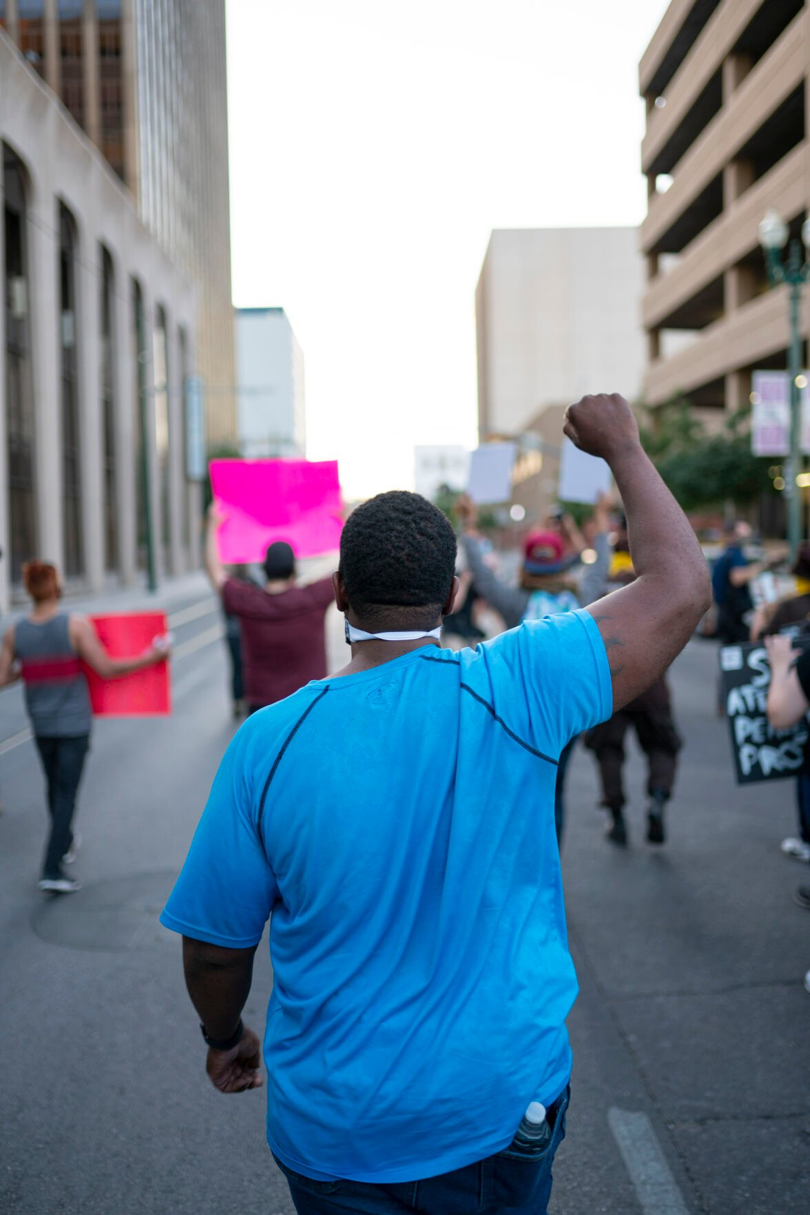 Protestors of the Killing of George Floyd March in Downtown El Paso